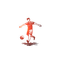 soccer player football game action concept vector image
