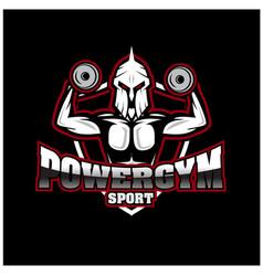 Spartan gym health logo designs vector
