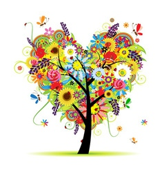 Summer floral tree heart shape vector image vector image