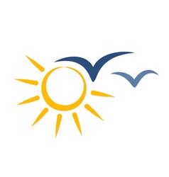 Symbol bright summer sun with birds vector