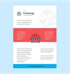 Template layout for justice comany profile annual vector