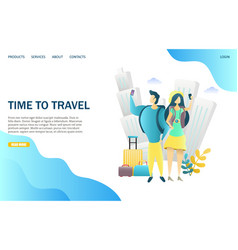 Time to travel website landing page design vector
