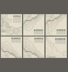 Topographic pattern texture set grey vector