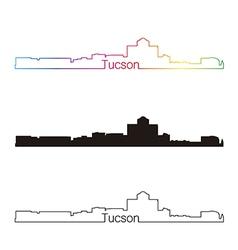 Tucson skyline linear style with rainbow vector