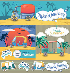 tuk rickshaw thailand banner set cartoon style vector image