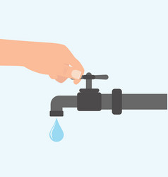 Turn off the water with man s hand isolated vector