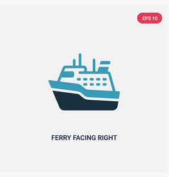 Two color ferry facing right icon from nautical vector