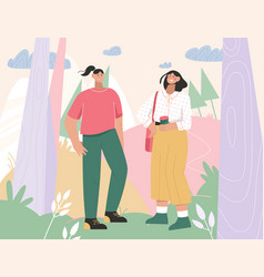 two women meeting at city park or forest vector image