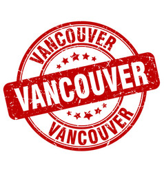 Vancouver red grunge round vintage rubber stamp vector