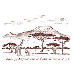Vintage african landscape safaris and wild vector