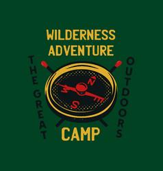 vintage camp patch logo mountain wildlife badge vector image