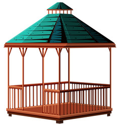 Wooden pavilion with green roof vector