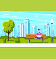 young man in park working with laptop vector image