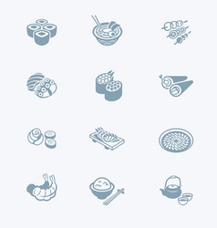 japanese sushi-bar icons - tech series vector image vector image