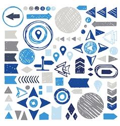 set of sketch geometric elements - arrows circles vector image vector image