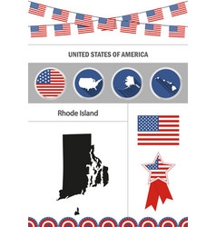 map of rhode island set of flat design icons vector image vector image