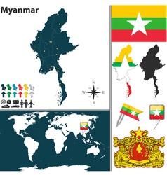 Myanmar map world vector image