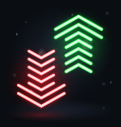 neon up and down arrows on dark background vector image vector image