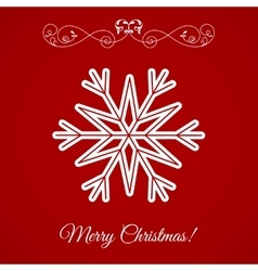 White Snowflake Icon Over Red Background vector image vector image