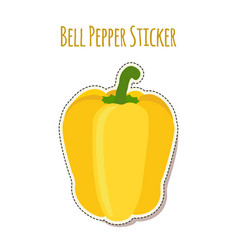 Yellow bell pepper sticker made in flat style vector