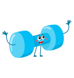 funny dumbbell character with smiling human face vector image