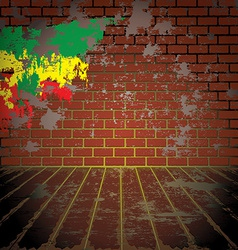 Grunge room with brick wall vector image