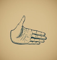 Hand draw sketch of vintage style hand vector image vector image