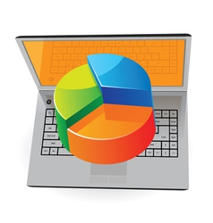 Laptop and pie-chart vector image vector image