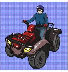 pop art of man riding quad vector image vector image