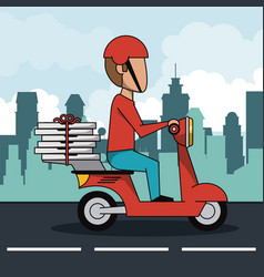 poster city landscape with fast pizza delivery man vector image