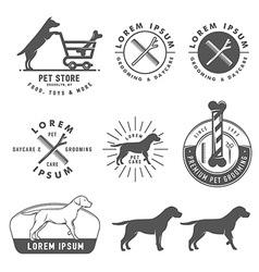 Retro pet care labels badges and design elements vector image