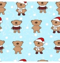 bears Christmas seamless pattern vector image vector image