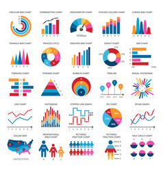 color finance data chart icons statistics vector image vector image