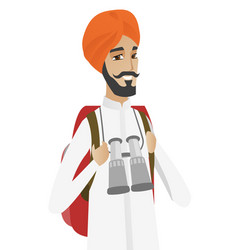 hindu traveler man with backpack and binoculars vector image vector image