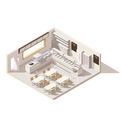 isometric low poly self service restaurant vector image