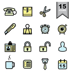 Office tools icons set vector