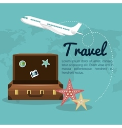 travel suitcase airplane design vector image