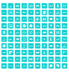 100 location icons set grunge blue vector