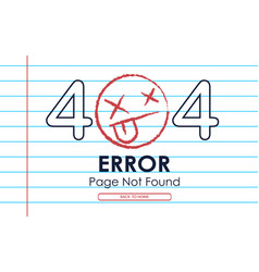 404 error page not found paper note background vector image