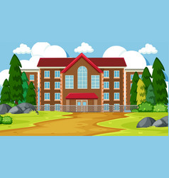 A mansion in nature scene vector