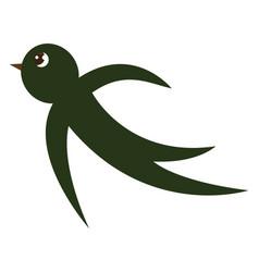 A small cartoon green-colored swallow bird or vector