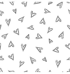 abstract doodle pattern with hand drawn hearts vector image