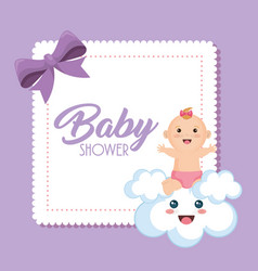 Baby shower card with little girl vector