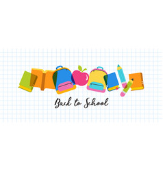 Back to school concept banner and background vector
