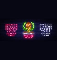basketball tourament night neon logo vector image
