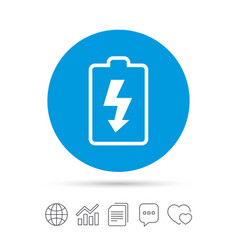 Battery charging sign icon lightning symbol vector