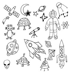 black and white hand drawn set of space objects vector image