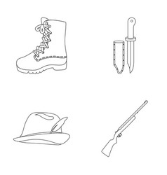 Boots knife with a cover gun hat with a feather vector