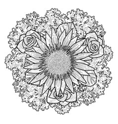 Bouquet coloring page vector