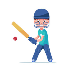 boy cricket player stands with a bat hit ball vector image